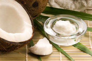 Coconut fruit and oil. spa, alternative medicine