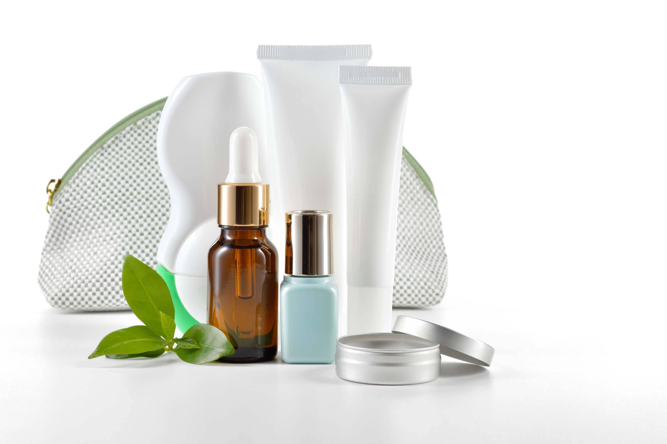 products for skin care with a leaf representing all natural ingredients